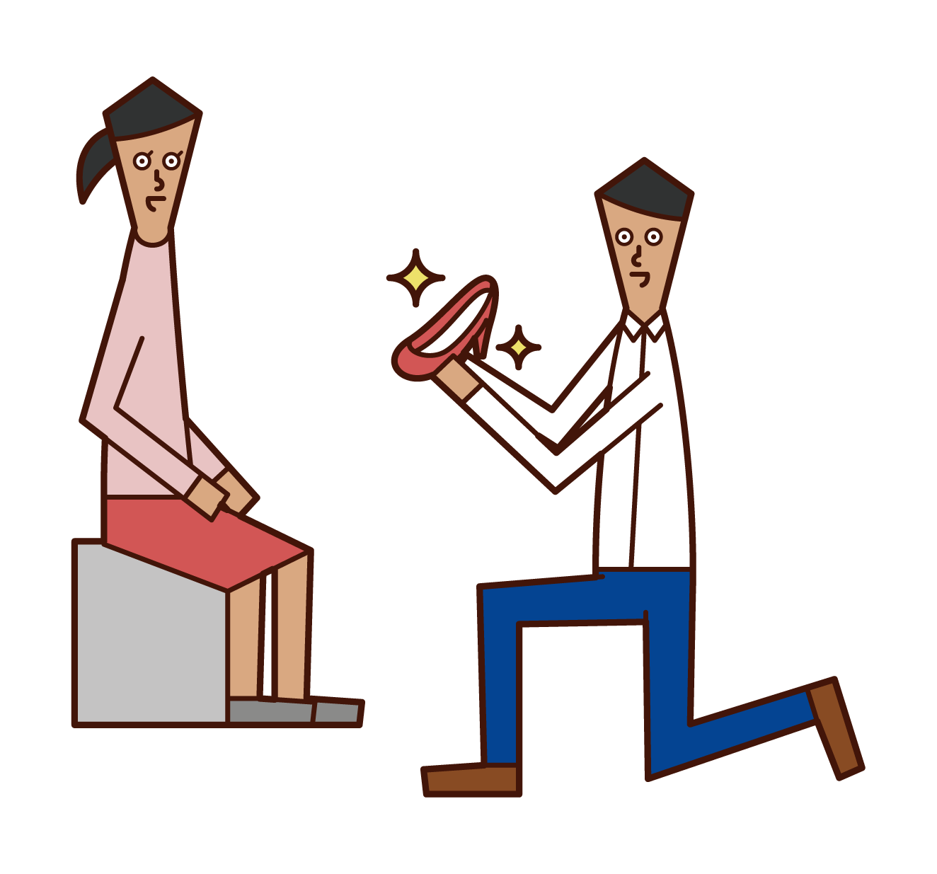 Illustration of a shop assistant (man) at a shoe fitter shoe store