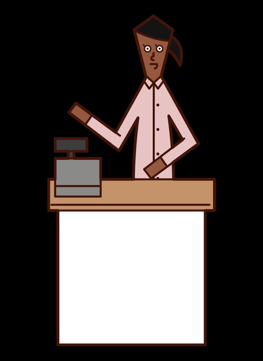 Illustration of a shop clerk (woman)