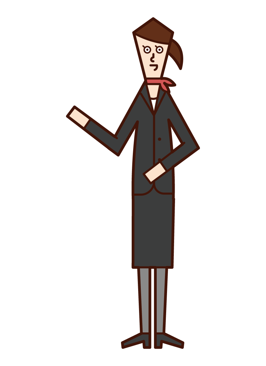 Illustration of concierge (woman) to guide