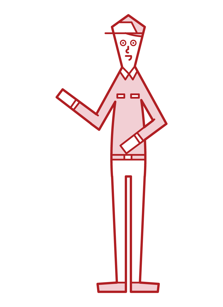 Illustration of the staff (men) of the theme park