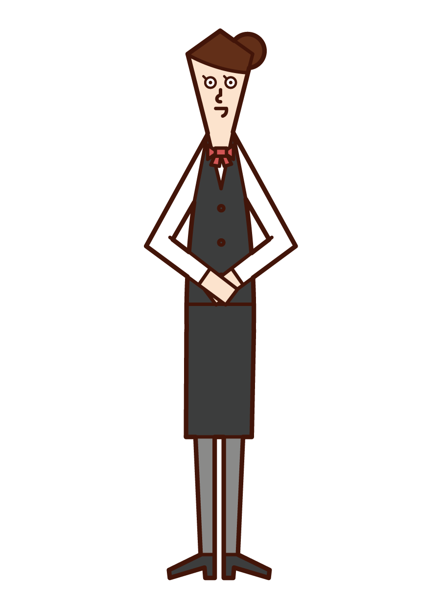 Illustration of a concierge (woman) wearing a vest