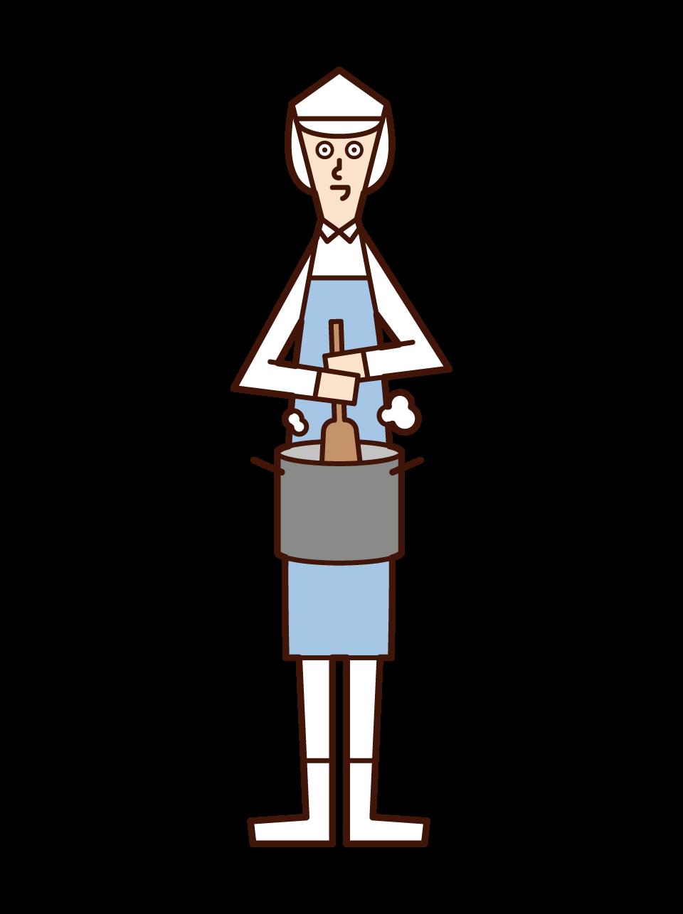 Illustration of a food maker's cook (man)