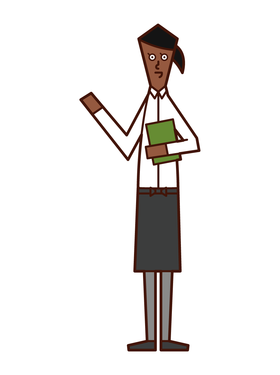 홀 직원 웨이트리스의 삽화 (여성)