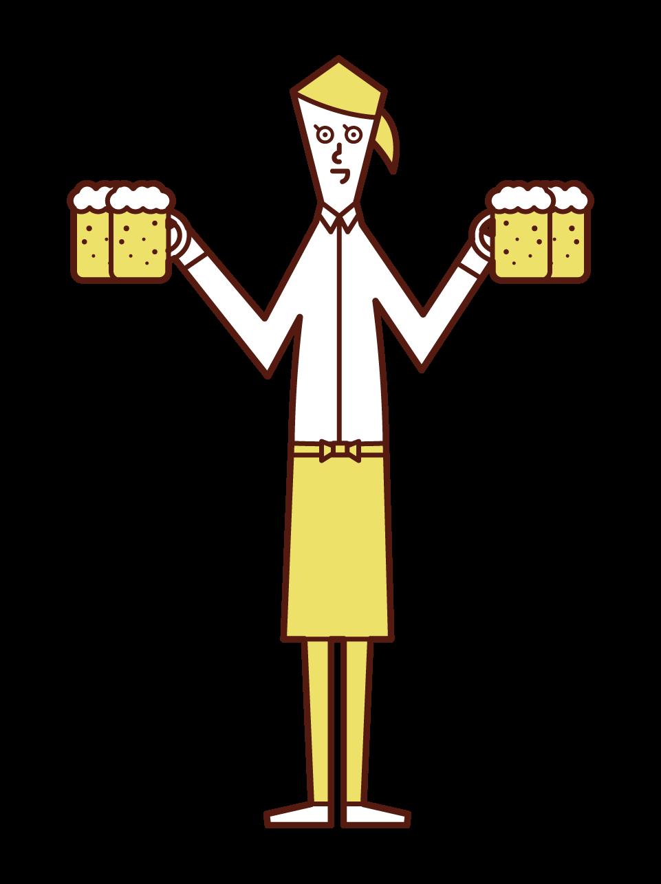 ビールを持ったホールスタッフ・ウエイトレス(女性)のイラスト