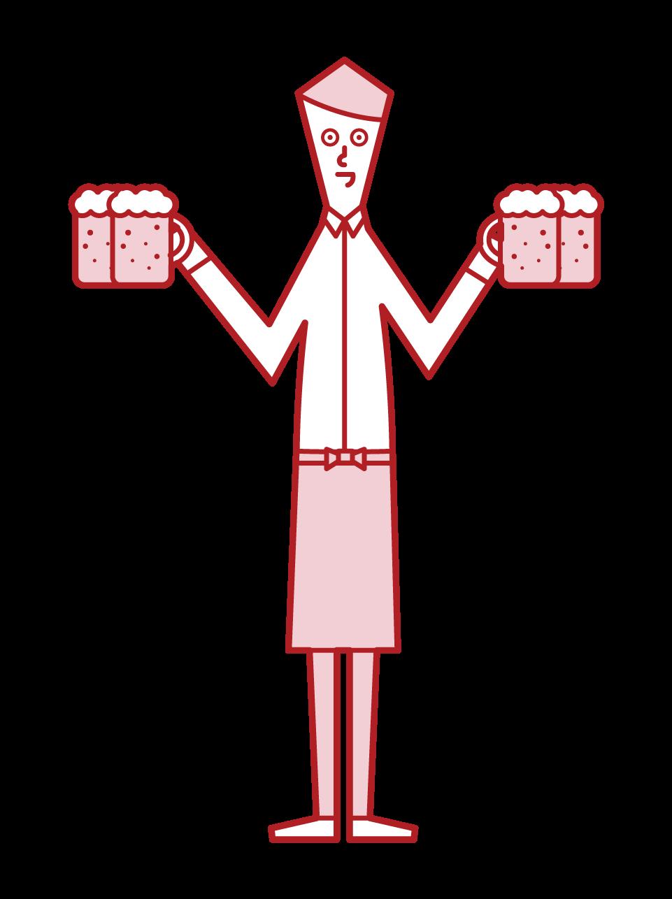 大廳工作人員服務員(男)與啤酒的插圖