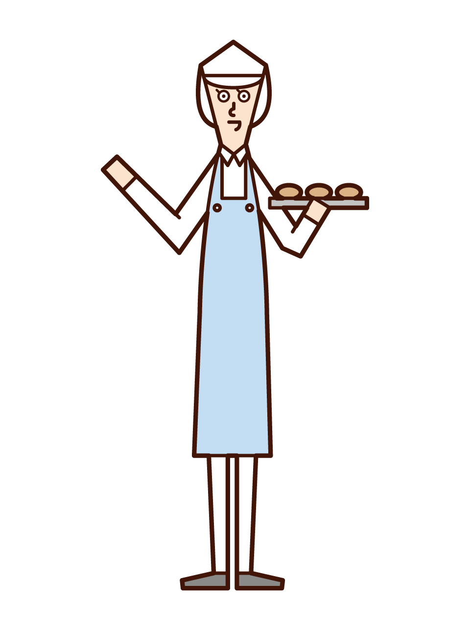 Illustration of a food supermarket clerk (woman)