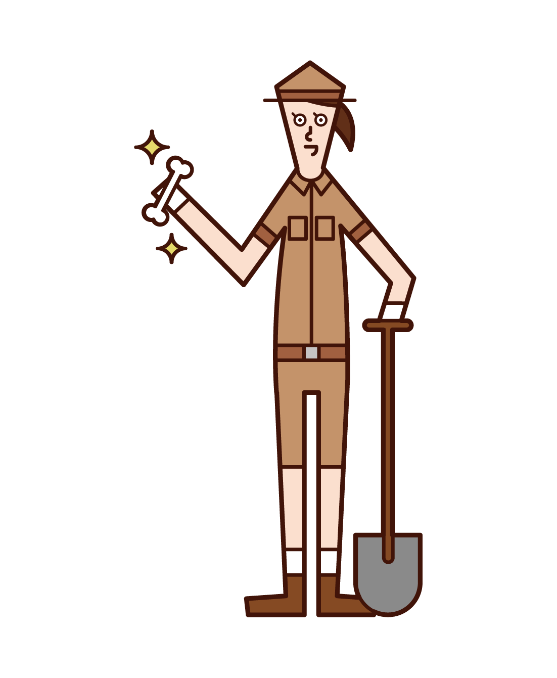 Illustration of an archaeologist (woman)