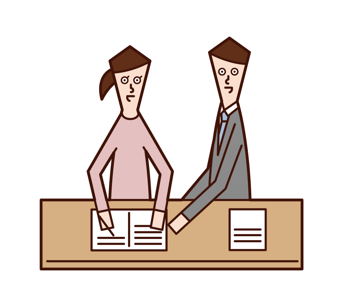 Illustration of a cram school teacher and a tutor (man)
