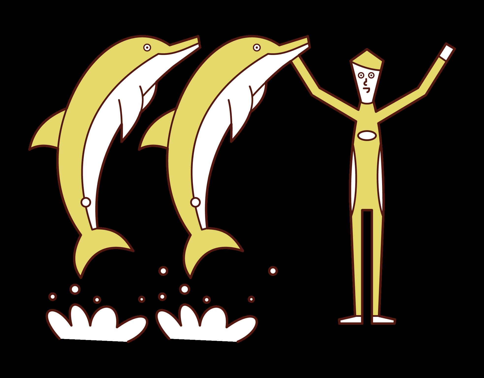 ドルフィントレーナー(男性)のイラスト