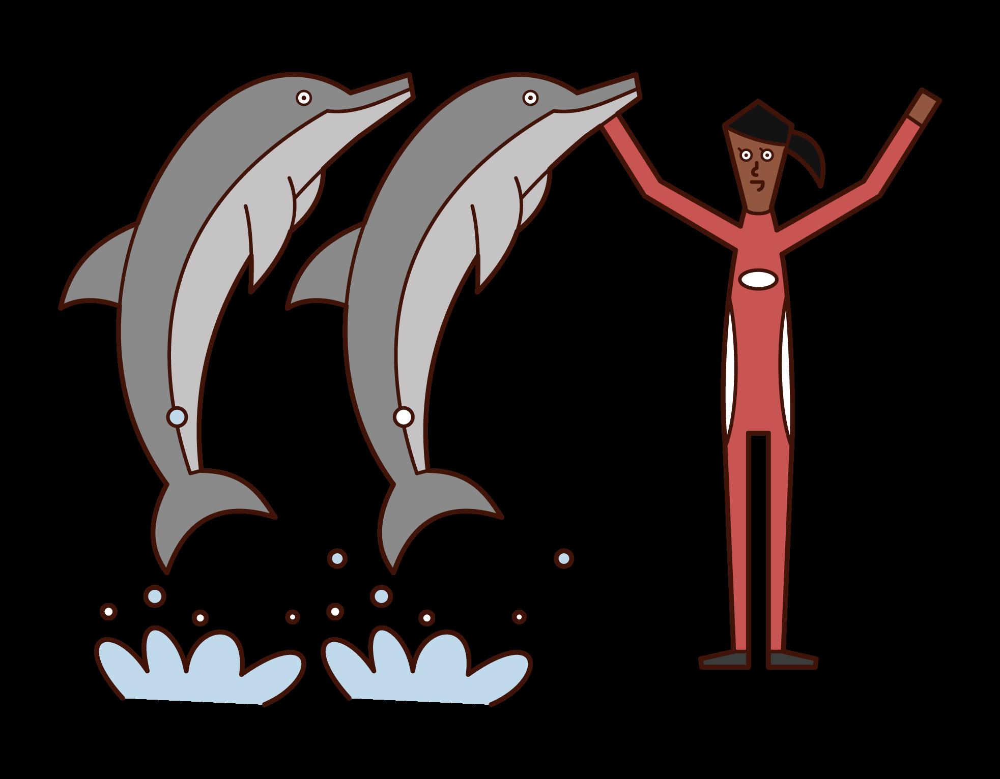 돌고래 트레이너의 삽화 (여성)