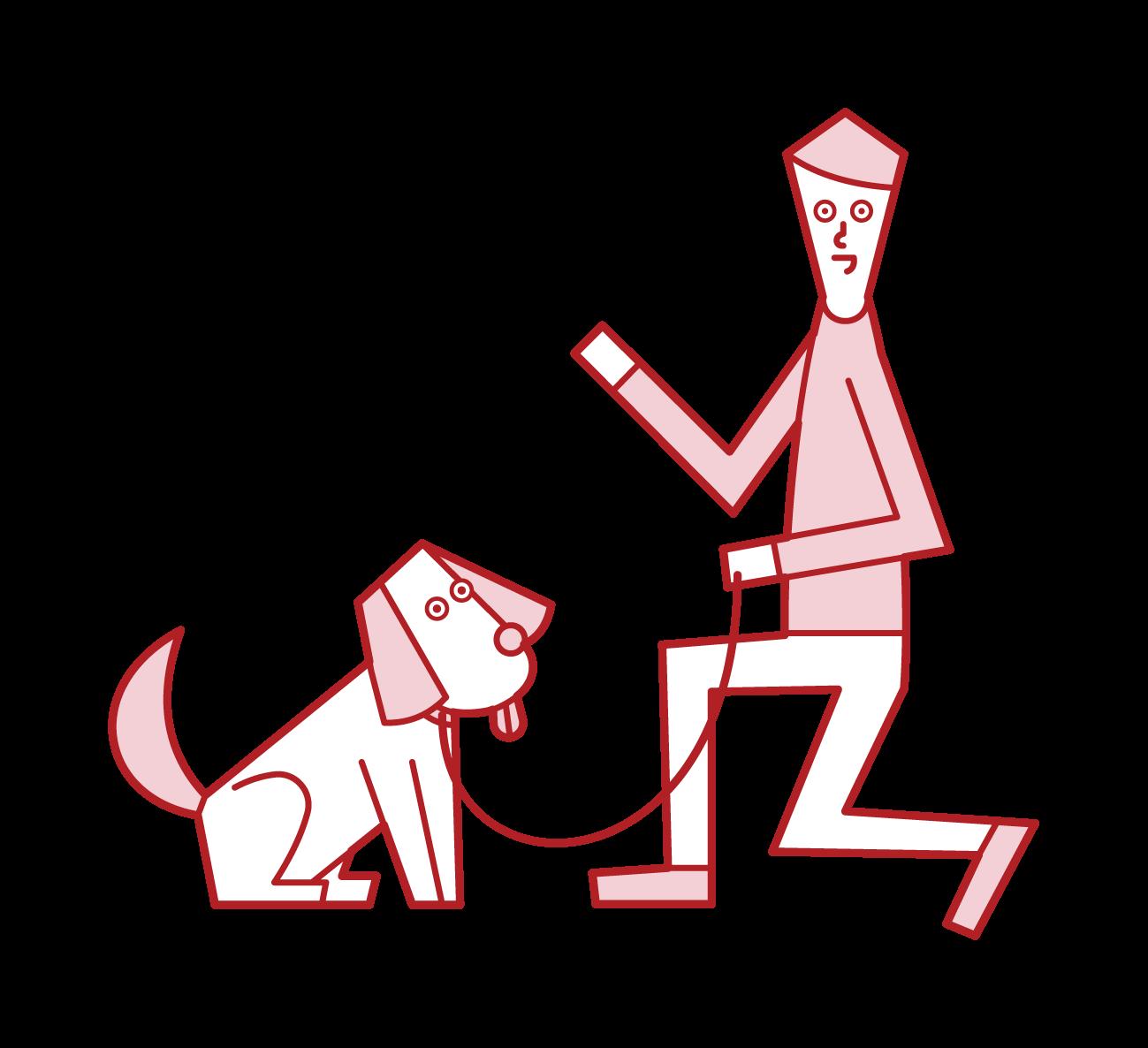 애완 동물 시터 (남성)의 일러스트