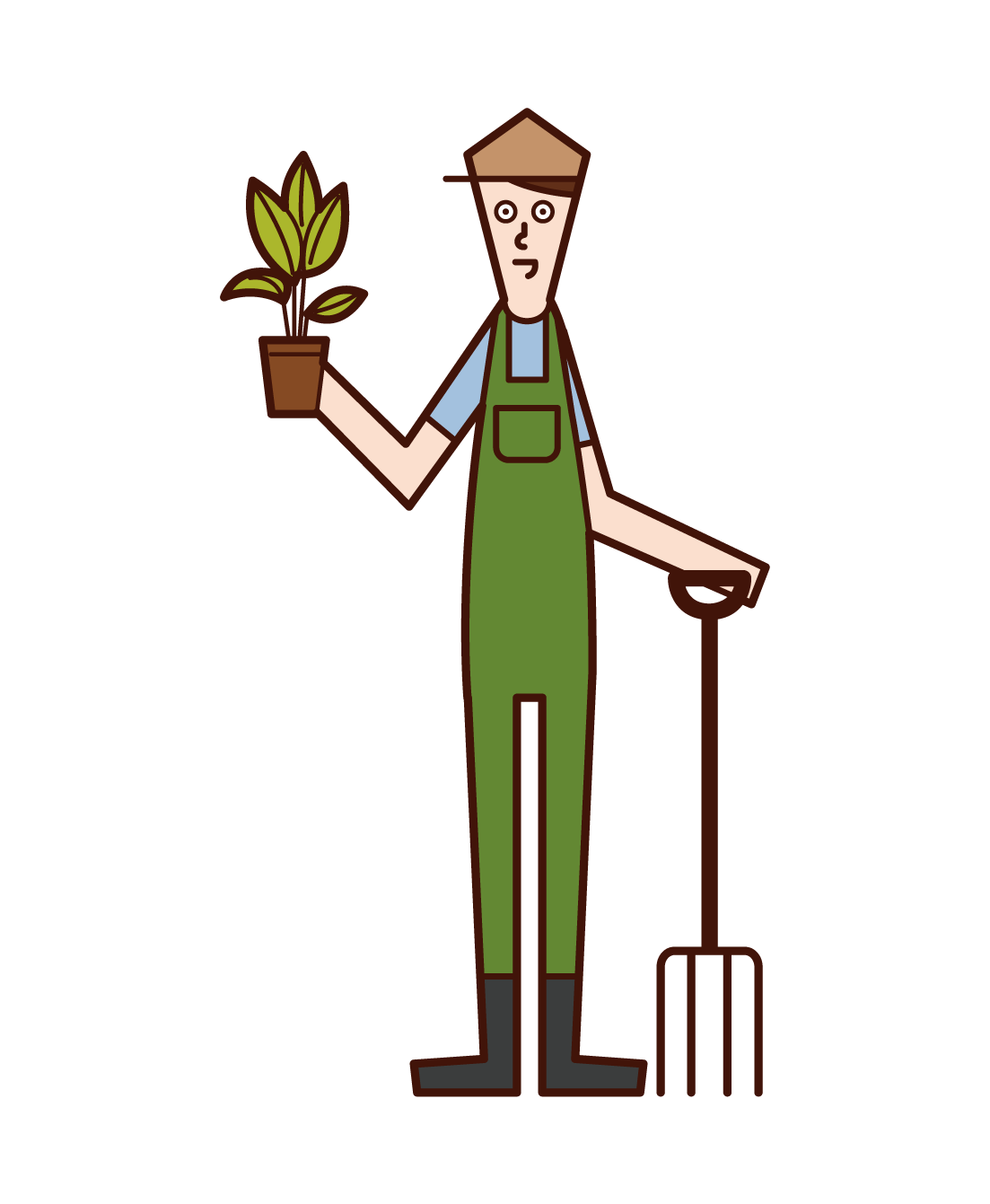 Illustration of gardener and garden designer (man)