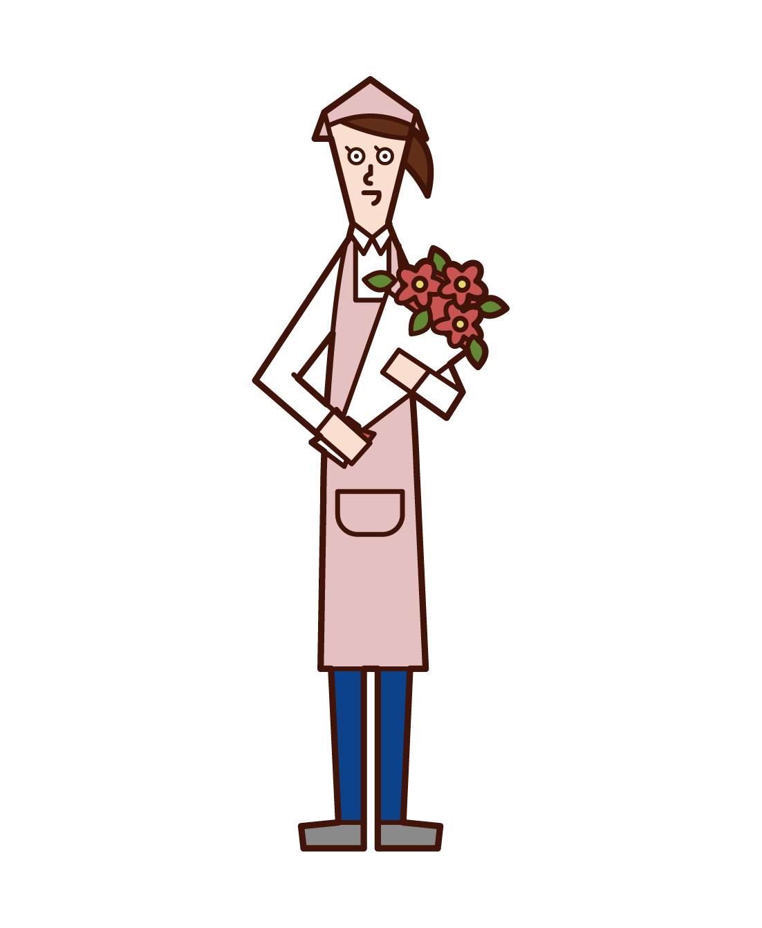 Illustration of a florist clerk (woman)