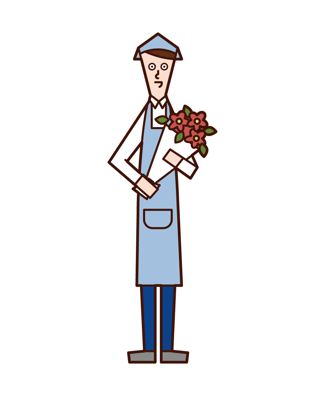 Illustration of a florist clerk (man)