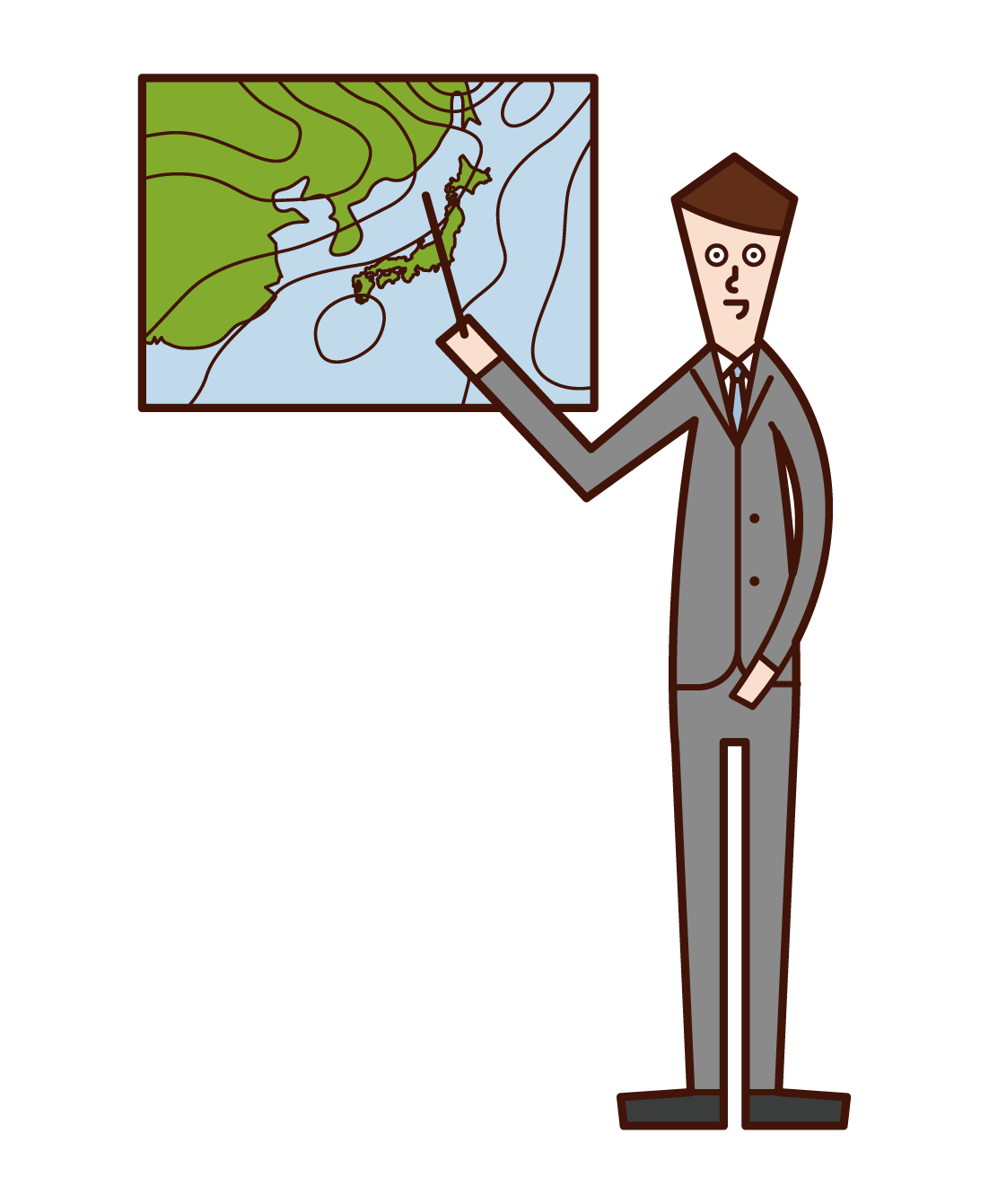 Illustration of a weather forecaster (man)
