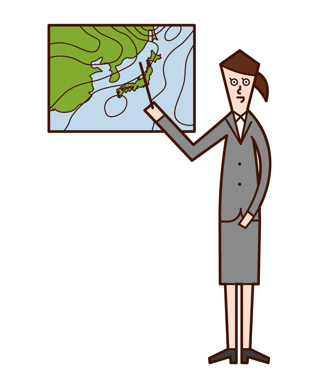 Illustration of a weather forecaster (woman)