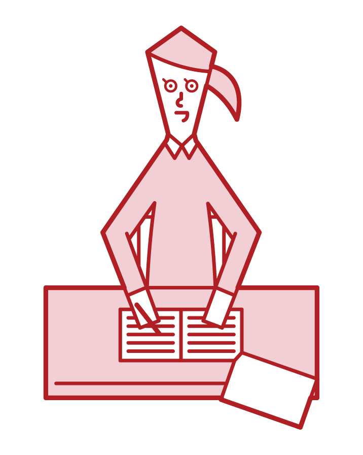 Illustration of a proofreader (woman)
