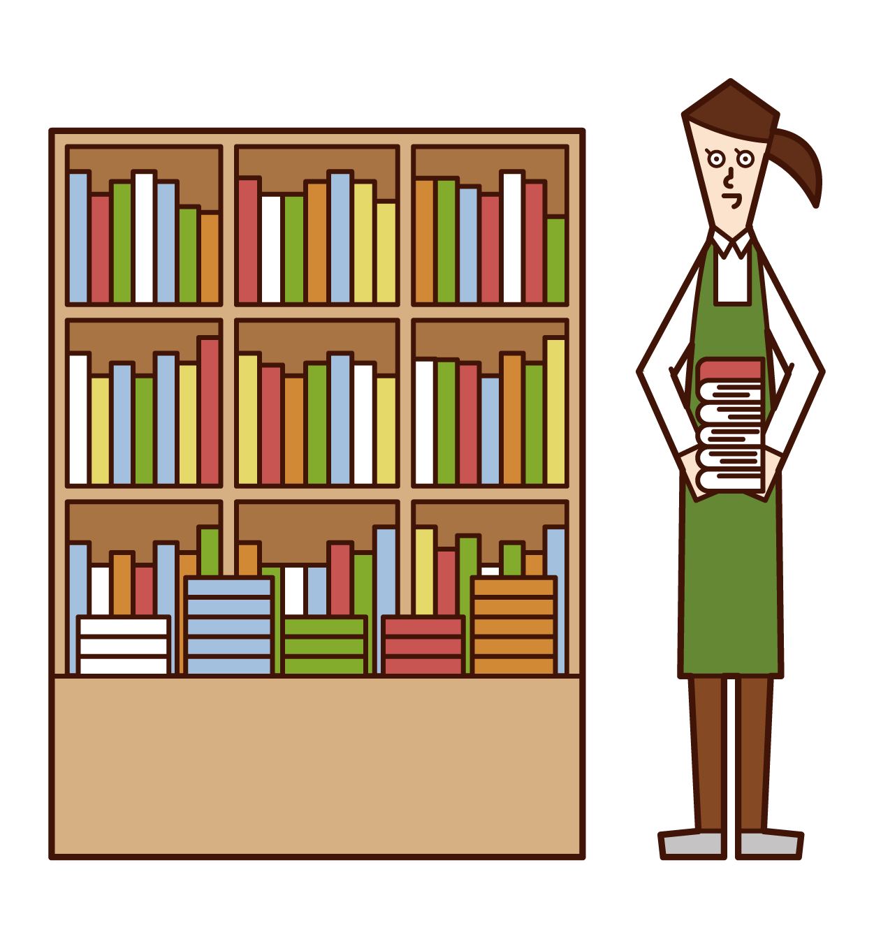 Illustration of a book clerk (woman)