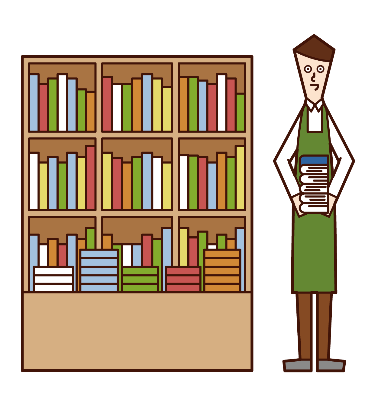 Illustration of a book clerk (man)