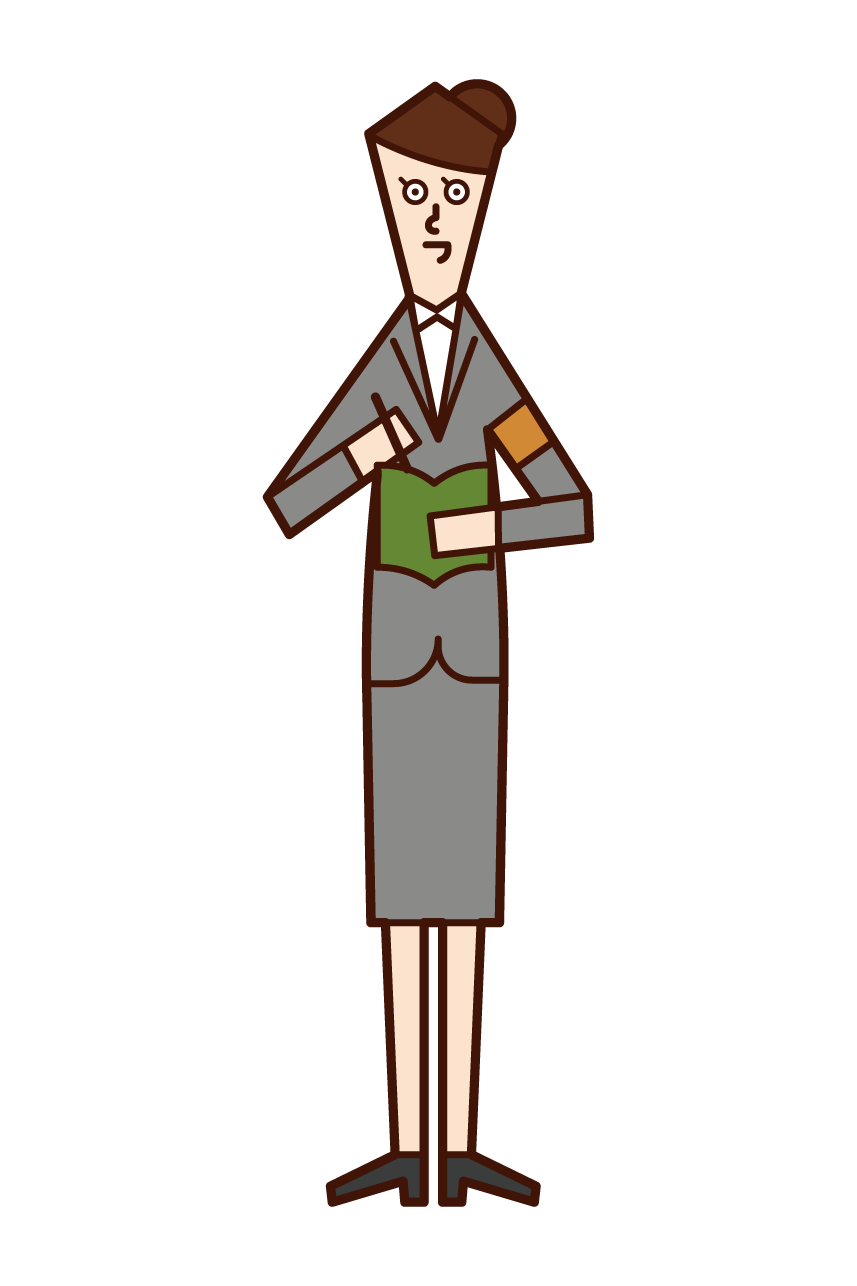 Illustration of a newspaper reporter (woman)