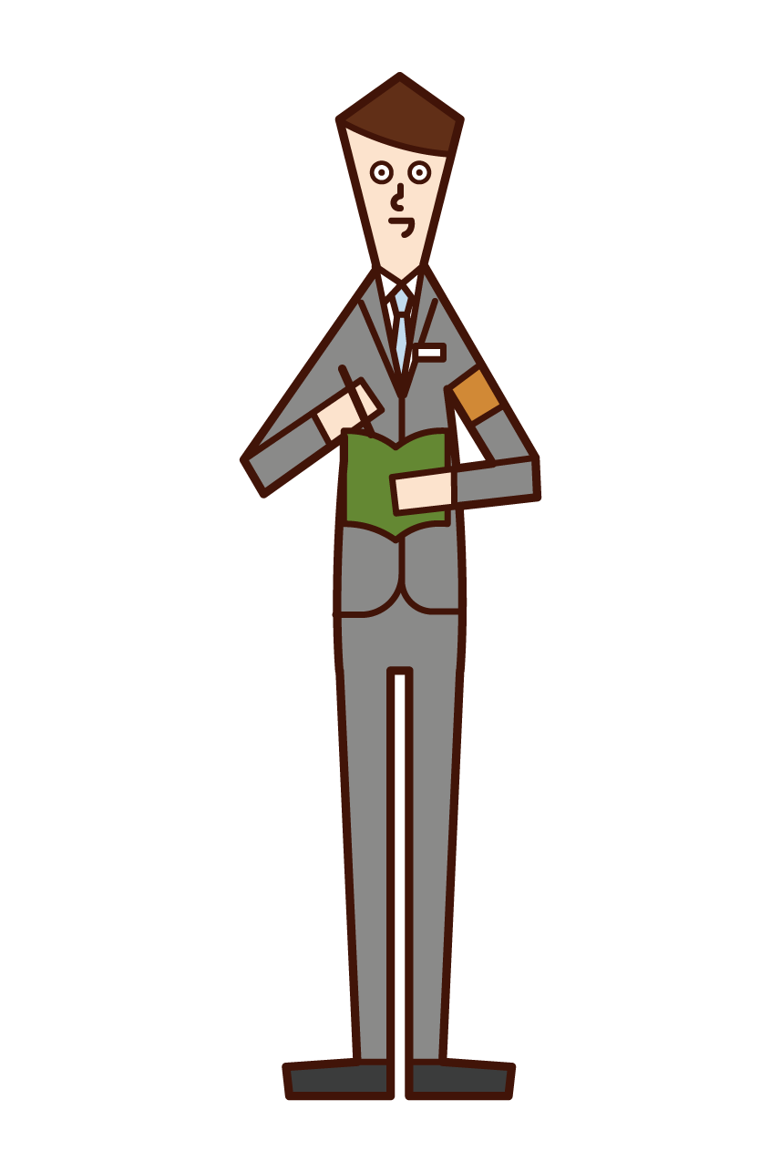 Illustration of a newspaper reporter (man)