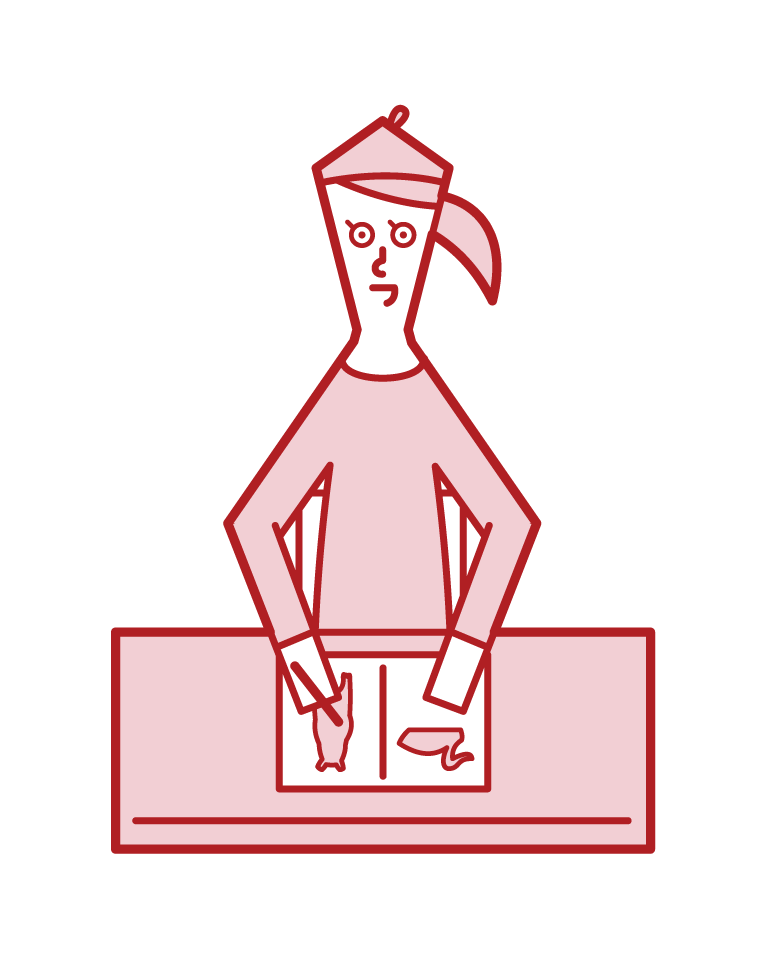 Illustration of a picture book writer (woman)