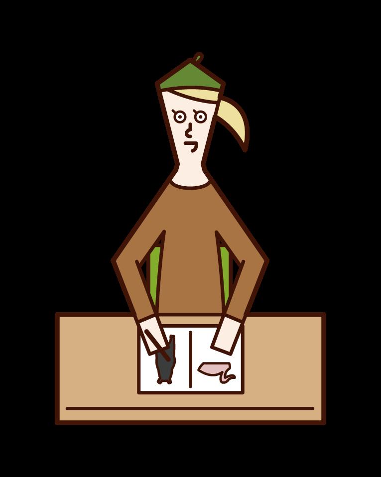 圖畫書作者(女性)的插圖