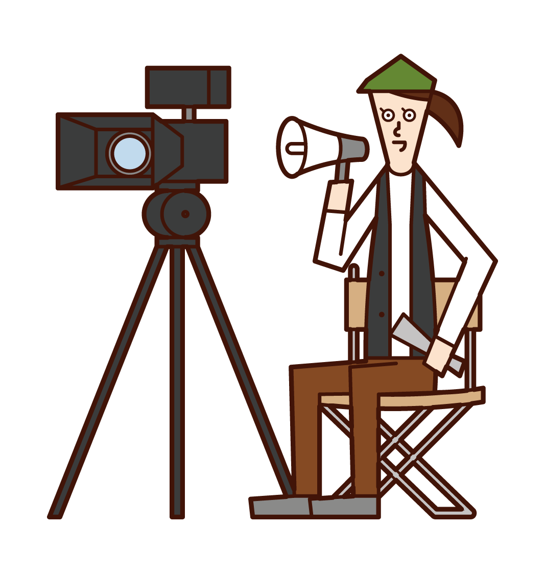 Illustration of a film director (woman)