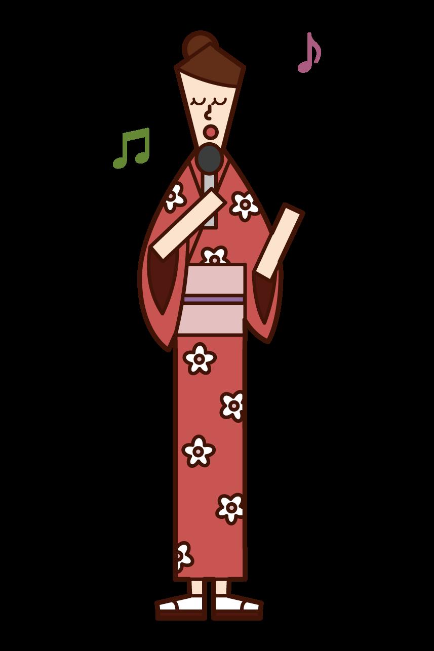 演歌歌手(女性)のイラスト