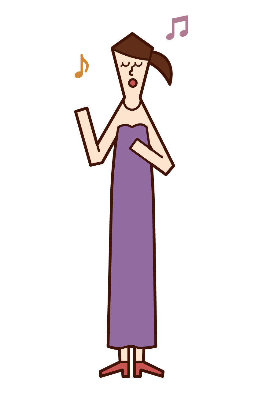 오페라 가수와 보컬의 일러스트 (여성)