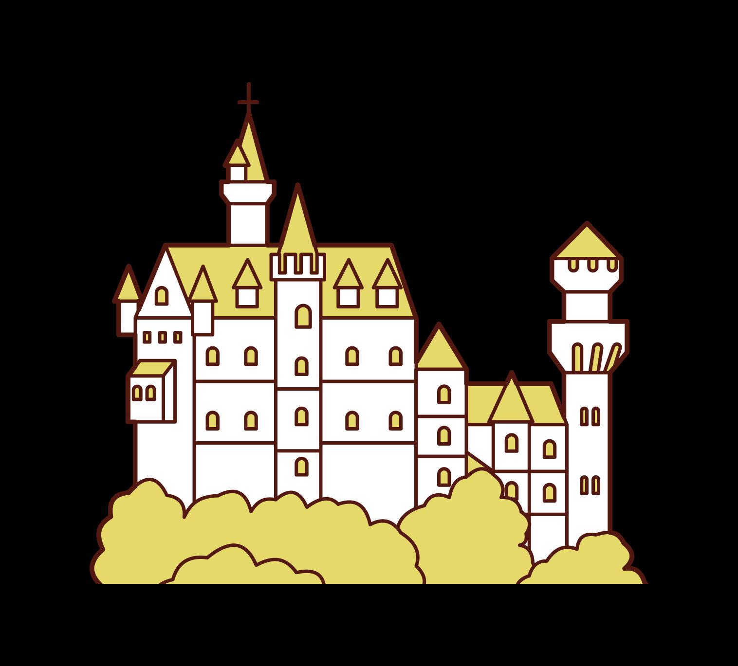 ノイシュバンシュタイン城のイラスト