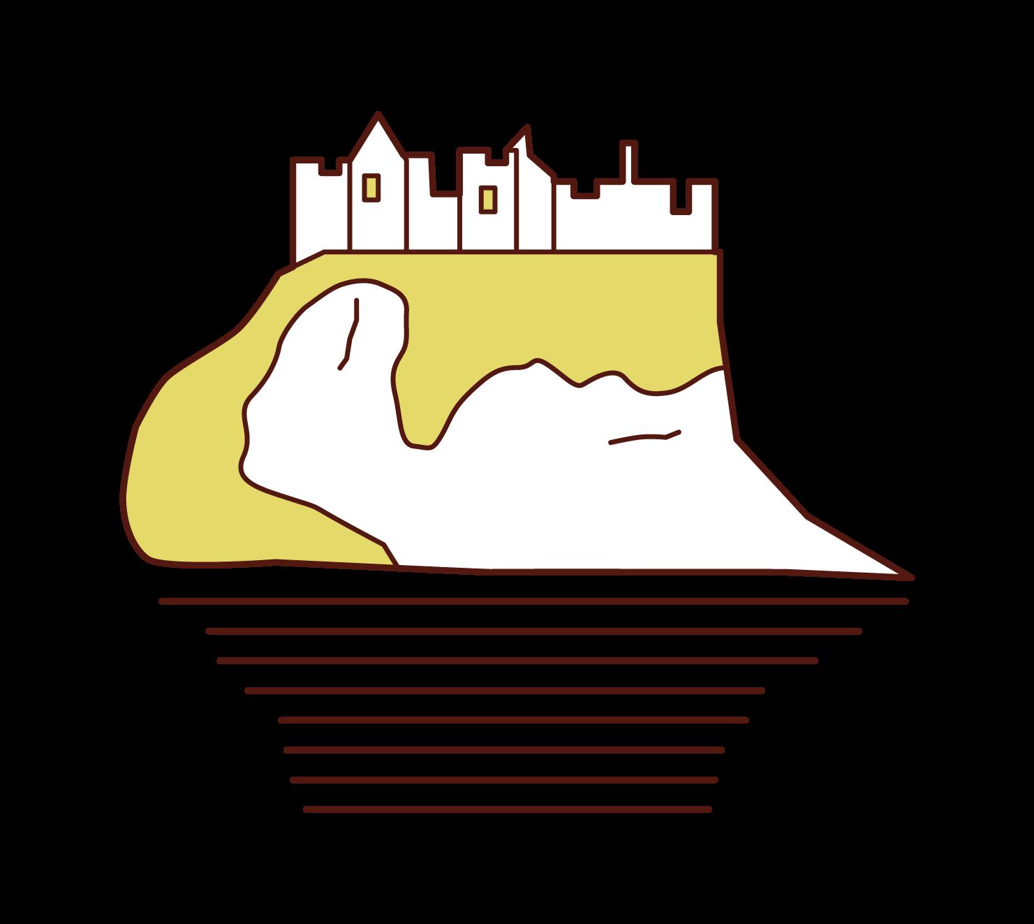 ダンルース城のイラスト
