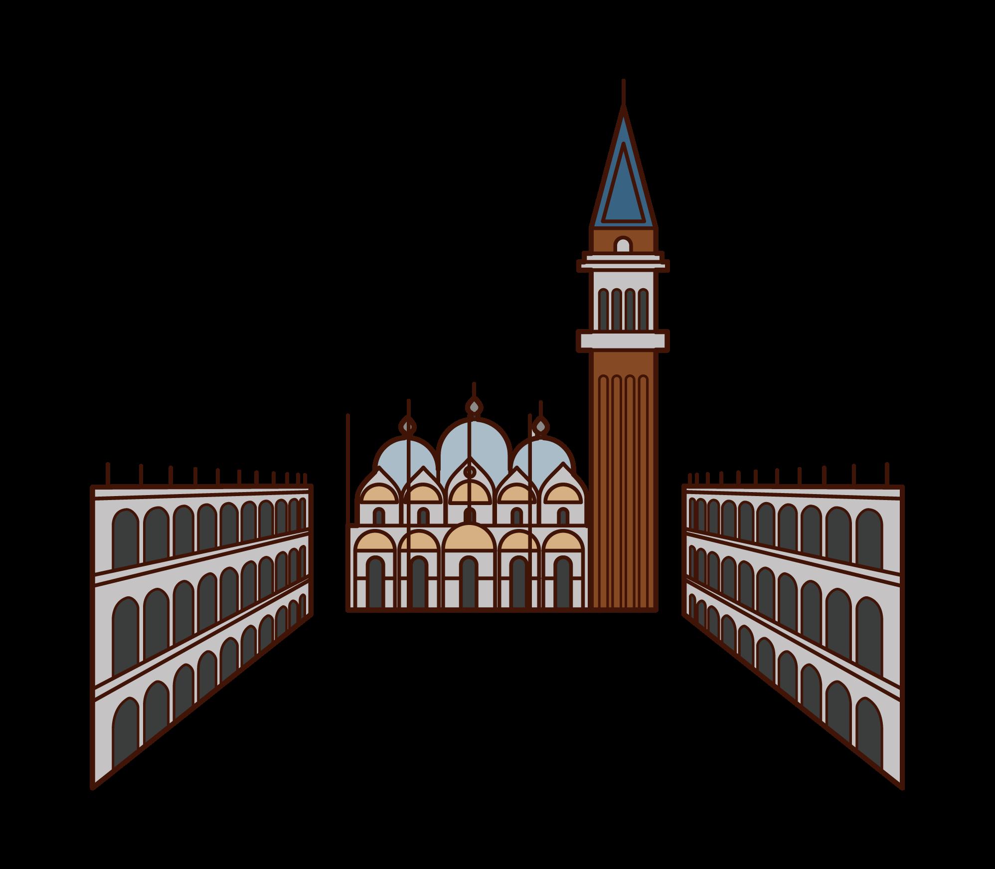 サン・マルコ広場のイラスト