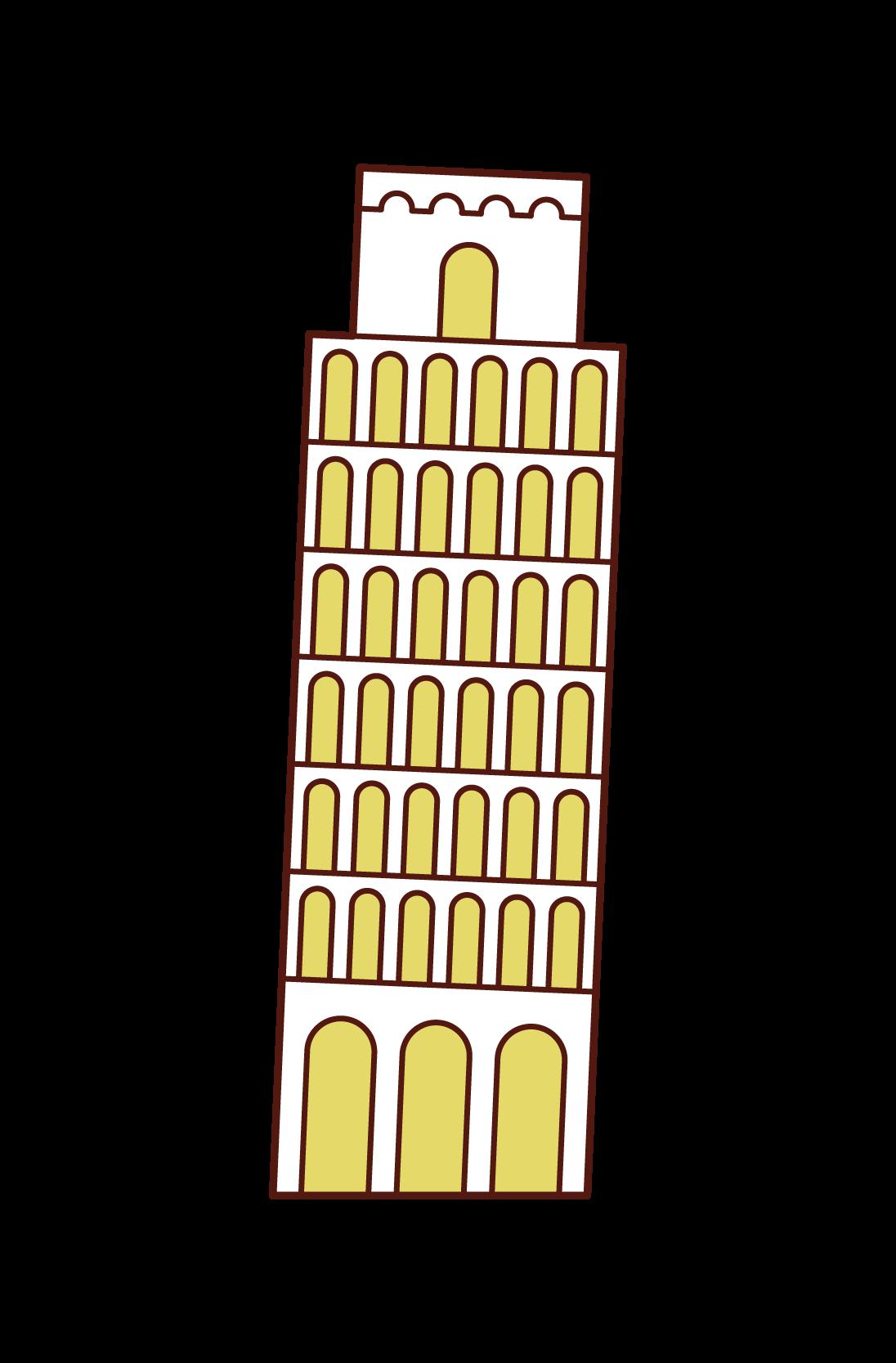 比薩斜塔插圖