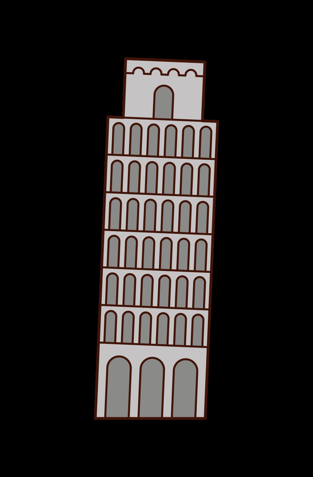 ピサの斜塔のイラスト