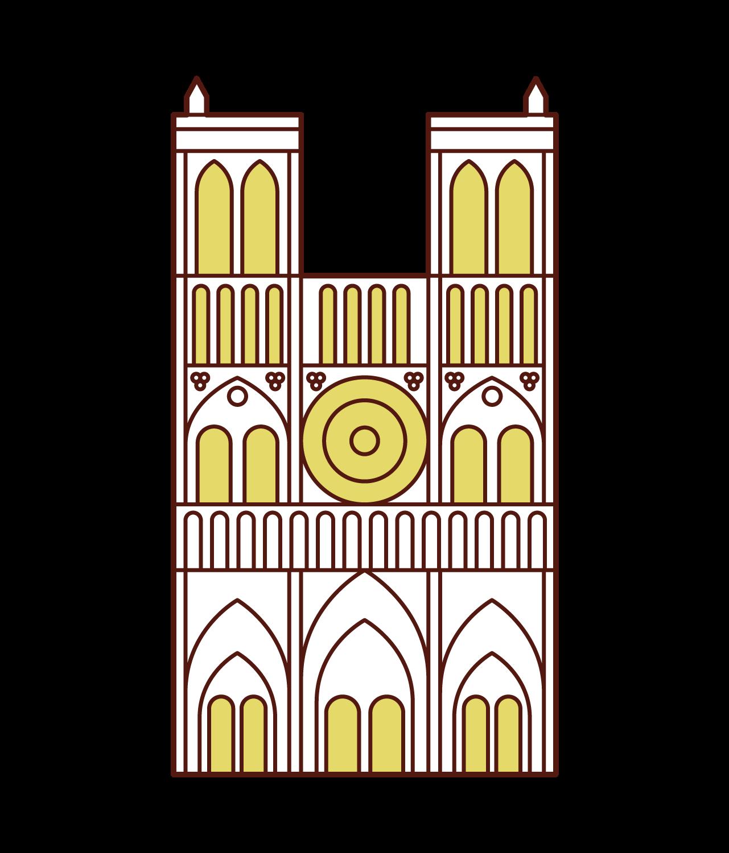 ノートルダム大聖堂のイラスト