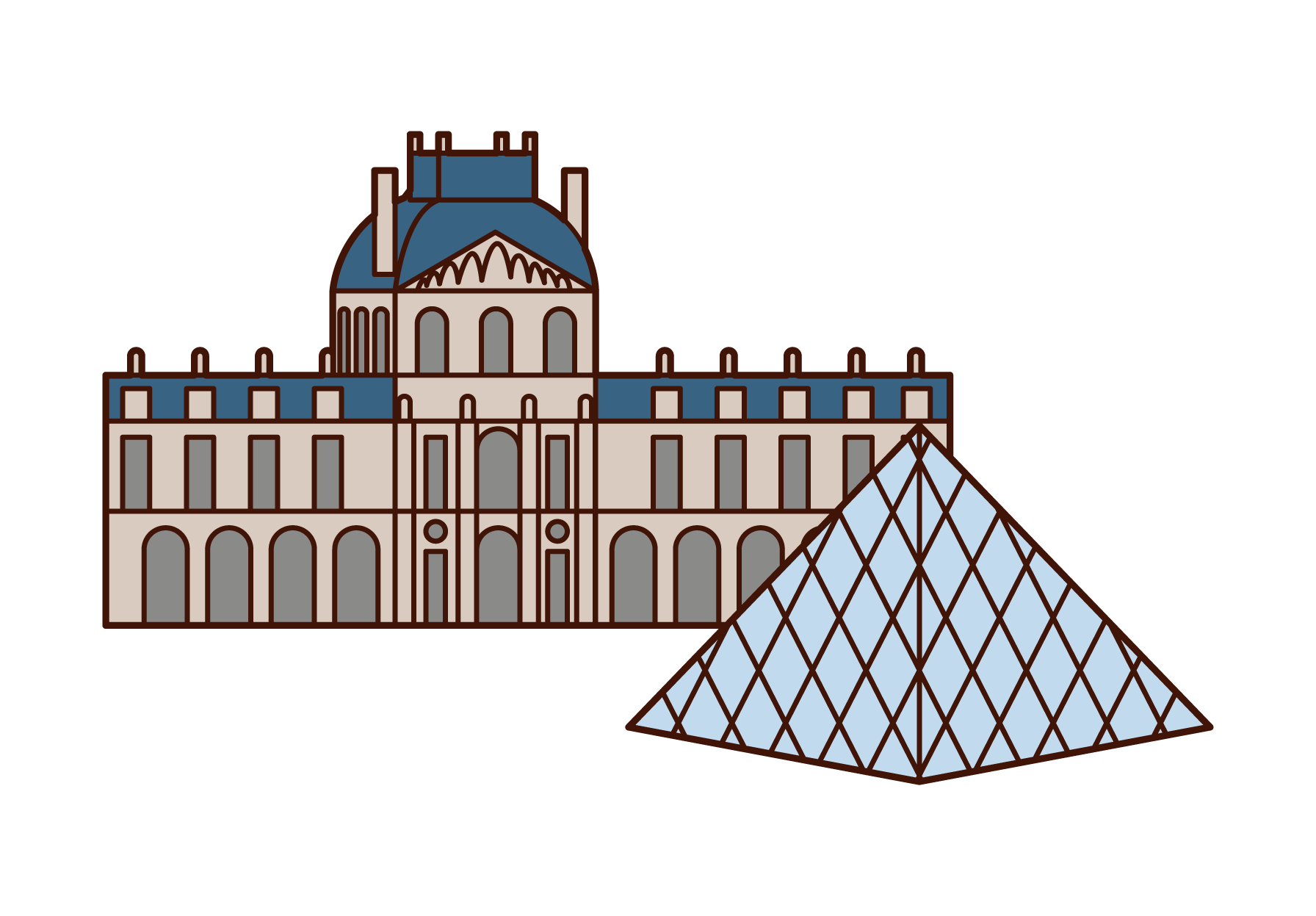 Illustrations of the Louvre Museum