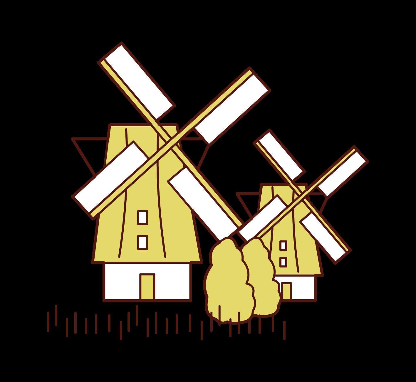 Illustration of the Windmills of Kinderdijk-Elshout
