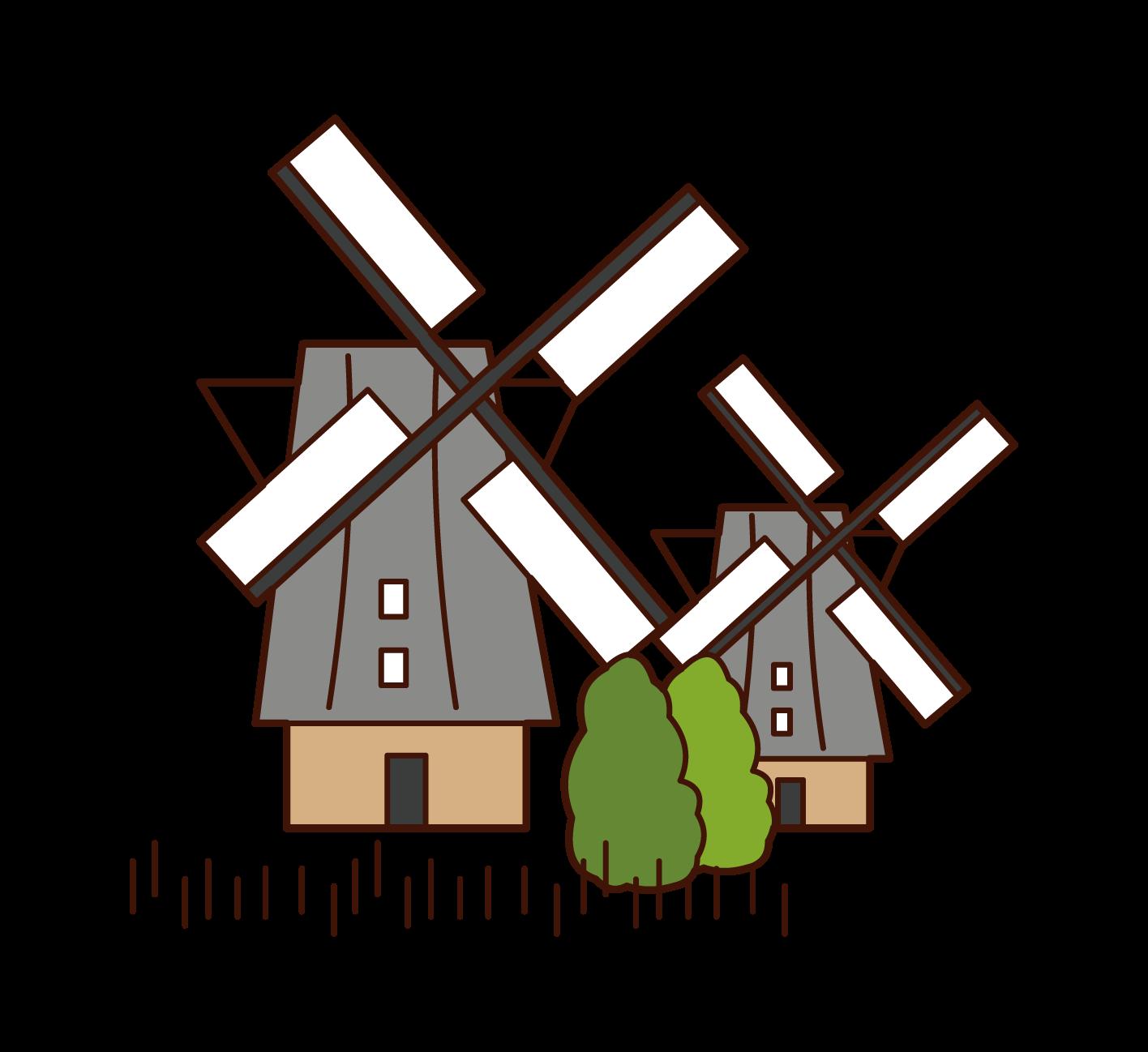 キンデルダイク-エルスハウトの風車群のイラスト