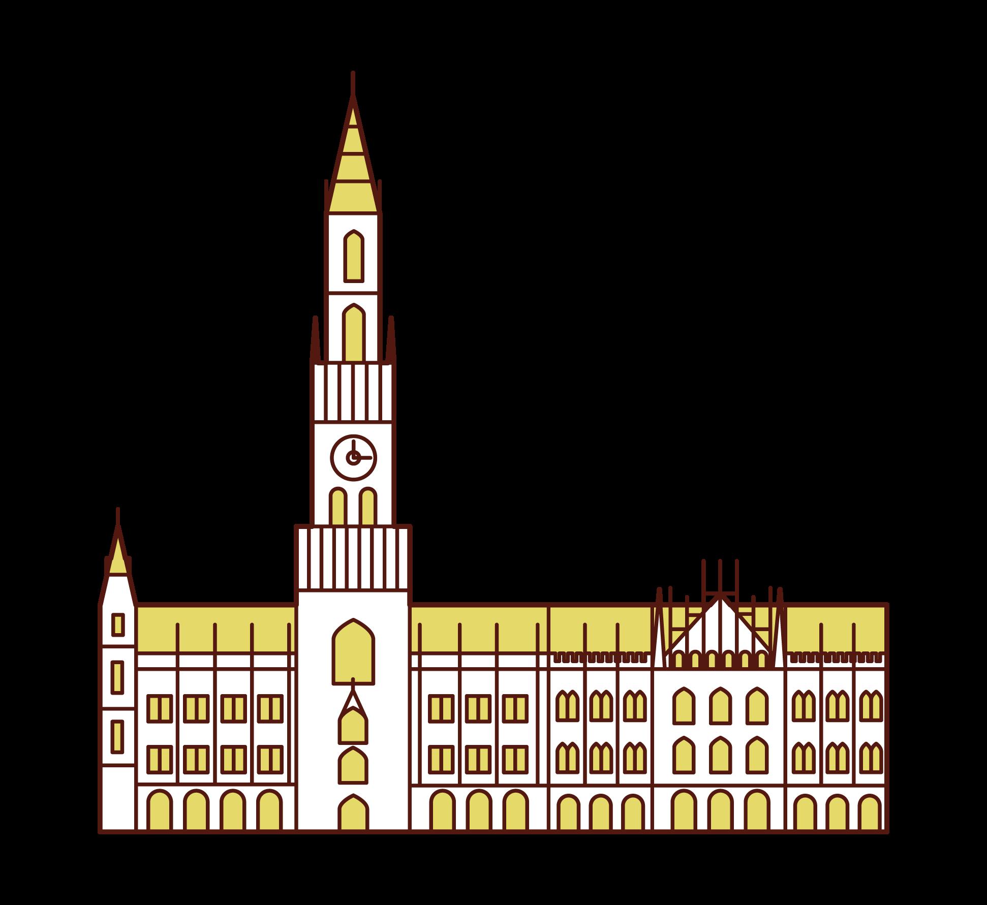 뮌헨 의 새로운 타운 홀의 그림