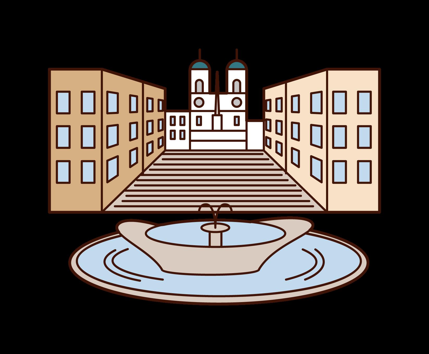 スペイン広場のイラスト