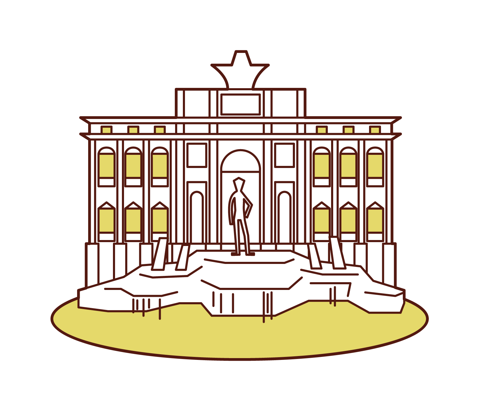 Illustration of trevi fountain