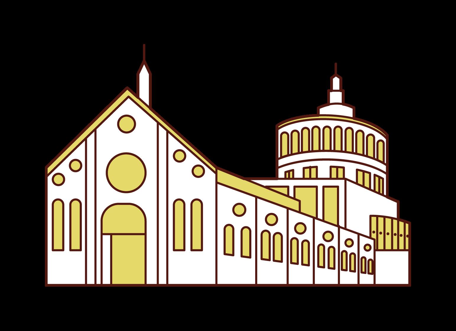 Illustration of the Church of Santa Maria delle Grazie