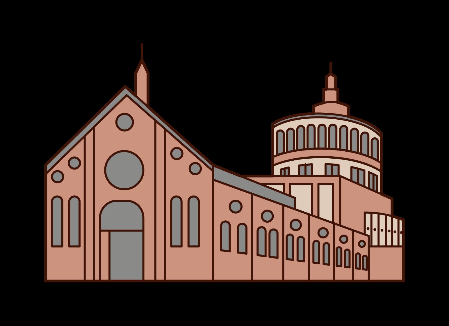 サンタ・マリア・デッレ・グラツィエ教会のイラスト