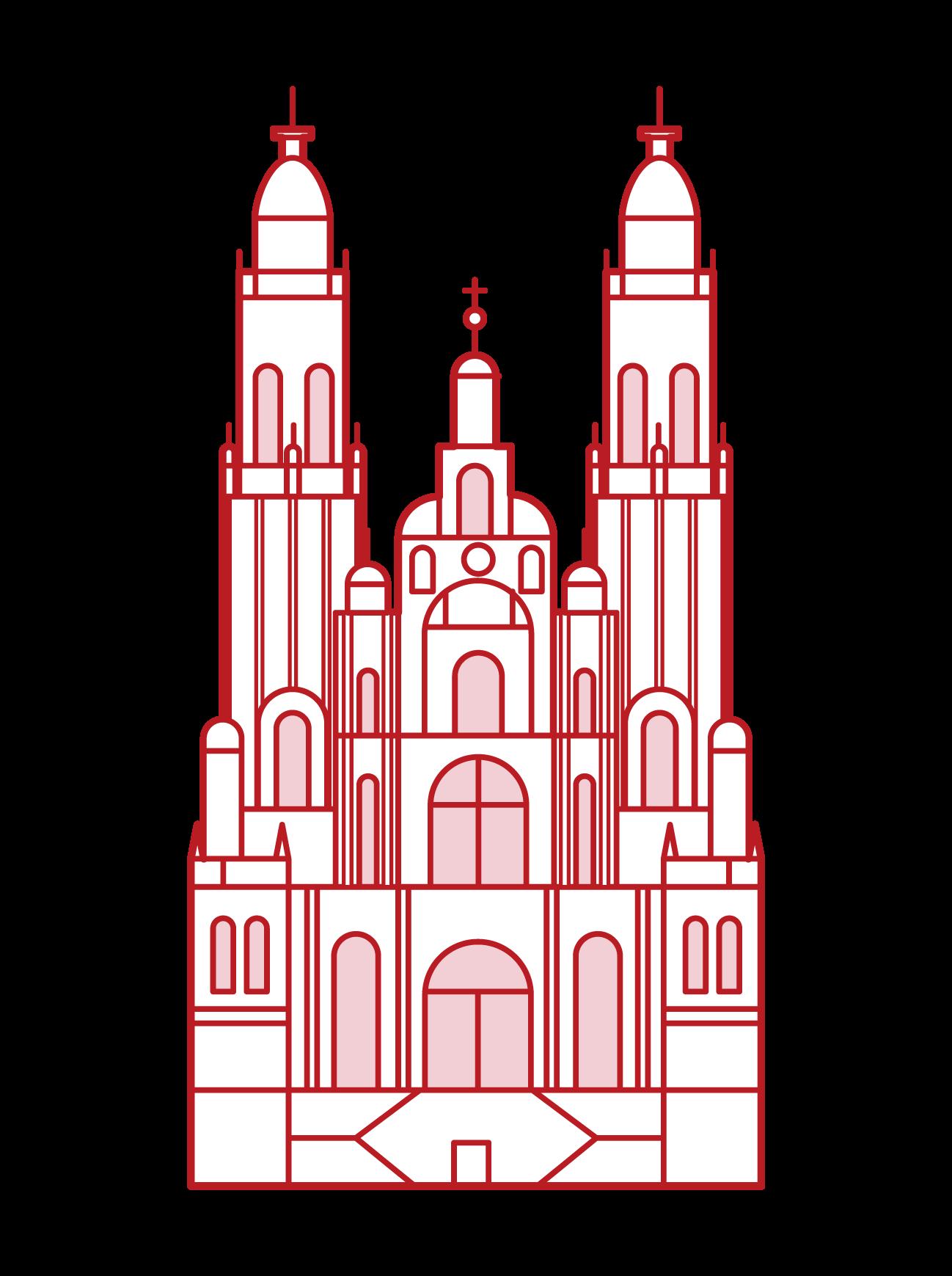 聖地牙哥-德孔波斯特拉大教堂插圖