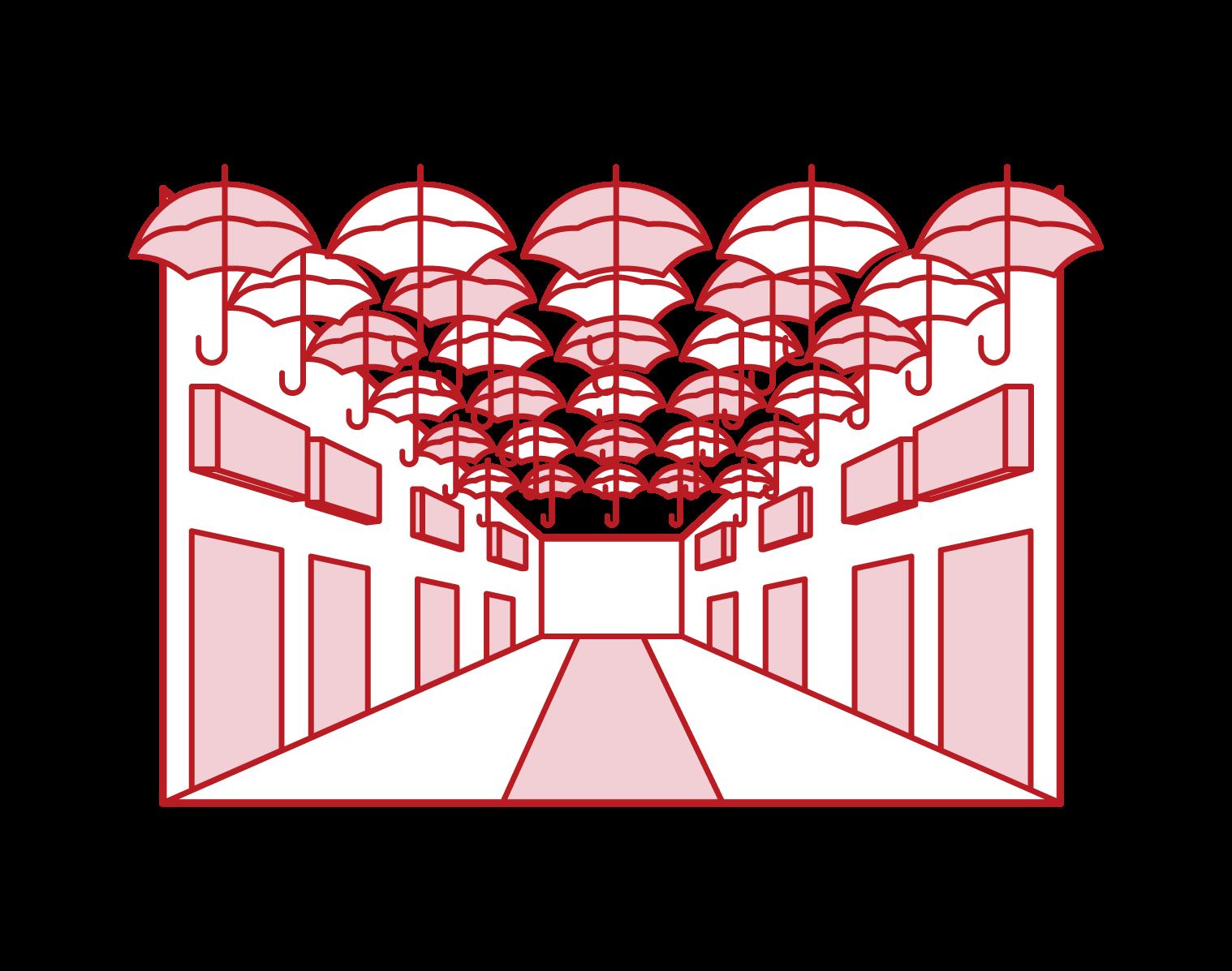 アゲダの傘祭りのイラスト