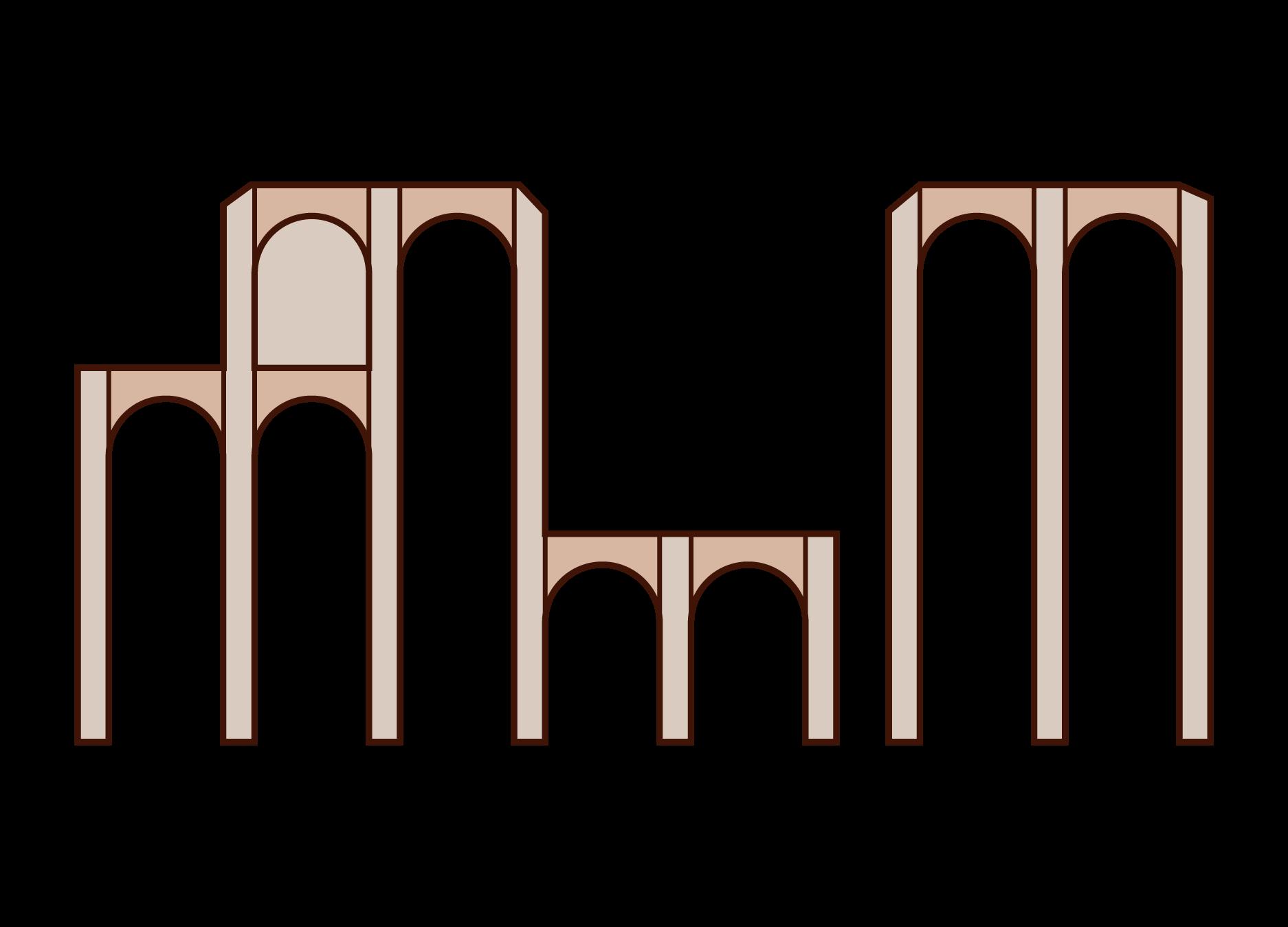メリダの水道橋のイラスト