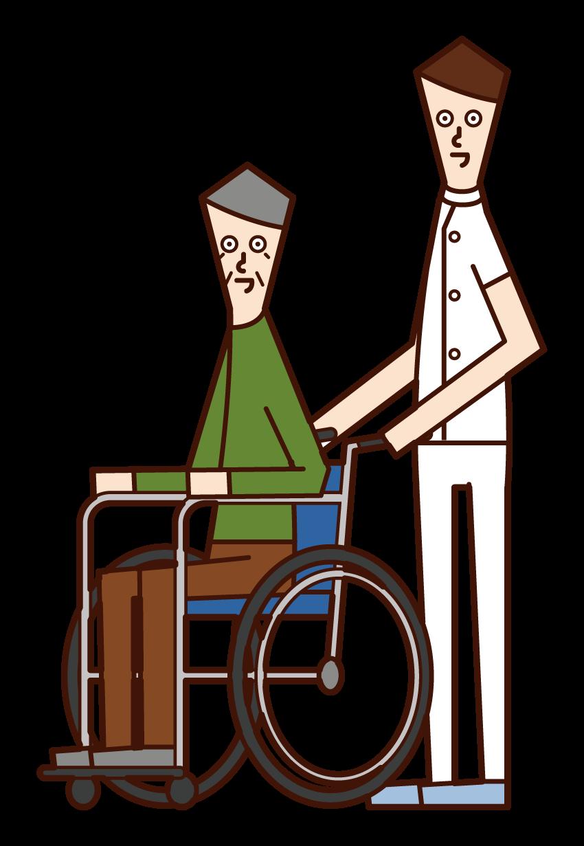 휠체어를 밀고 있는 케어 워커(남성)의 일러스트