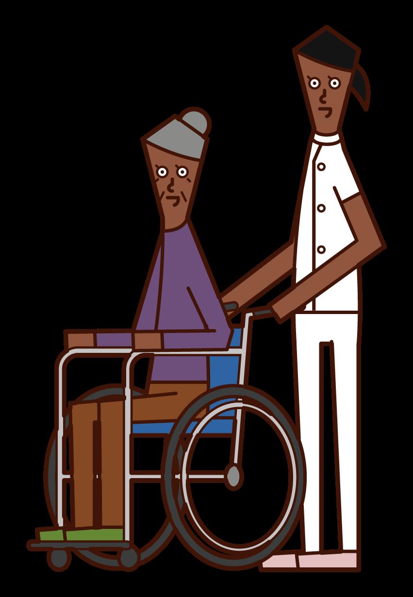 휠체어를 밀고 있는 케어 워커(여성)의 일러스트