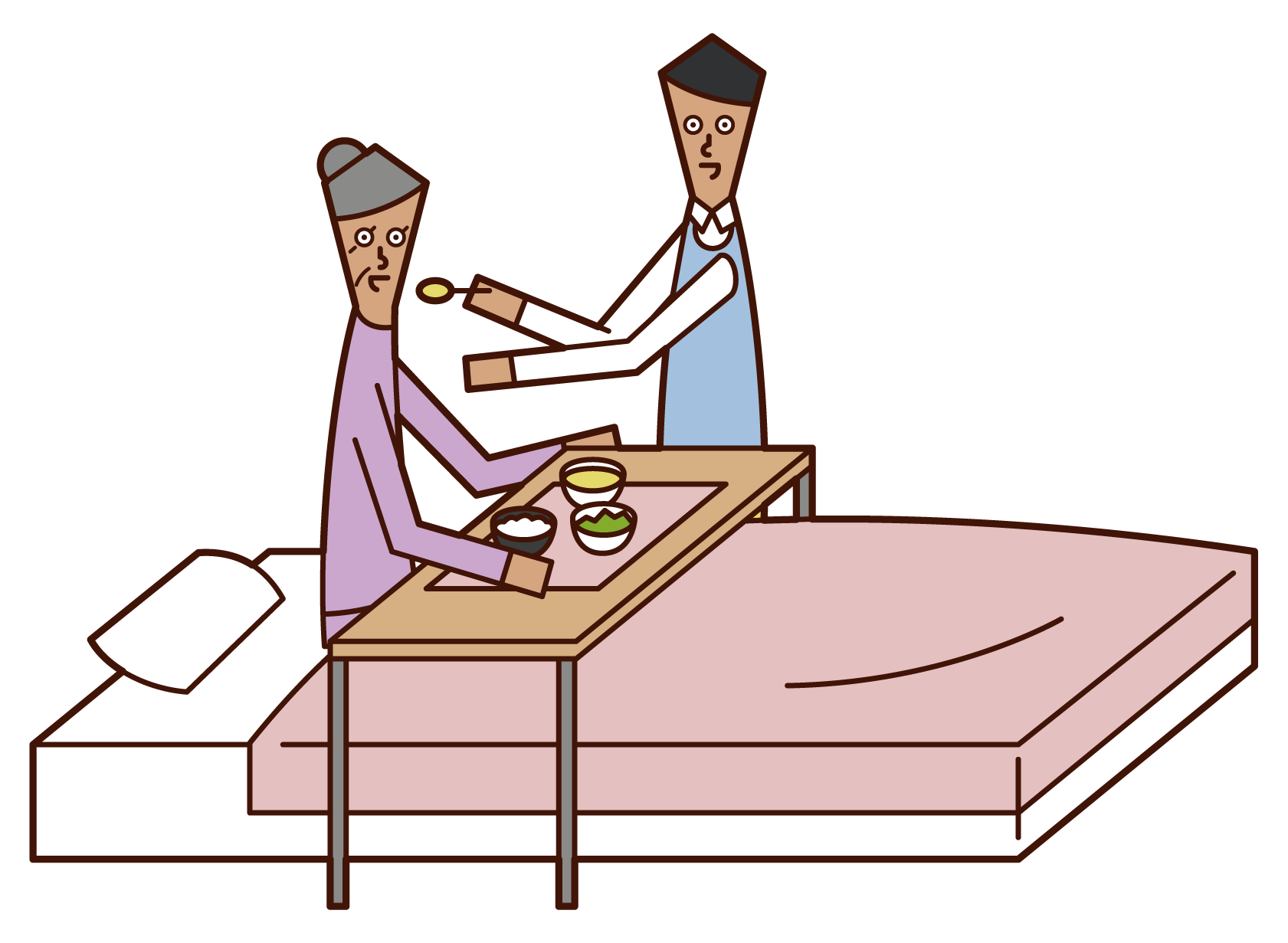 Illustration of a care worker (male) who assists with meals